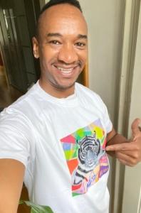 male T-Shirt M white_Tiger motif